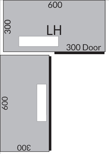 Plan a wall corner unit