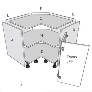 How to assemble a corner base unit & double hinged doors