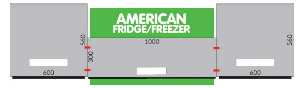 American fridge freezer boxing diagram