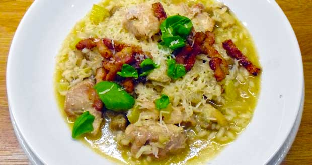 Chicken rissotto crispy backon