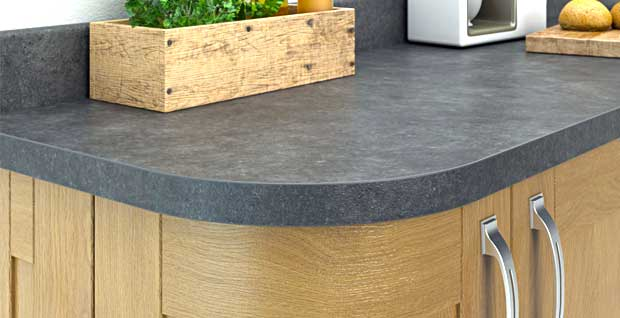 Square edged laminate worktop