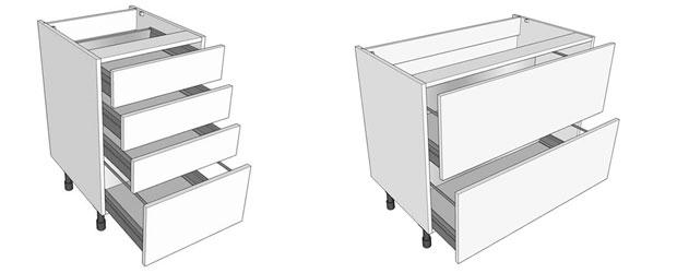 Combi and pan drawer kitchen base units