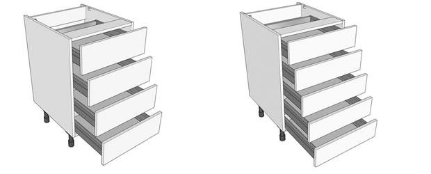 Multi drawer kitchen base units