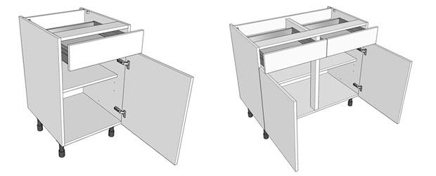 Single & double drawerline kitchen base units