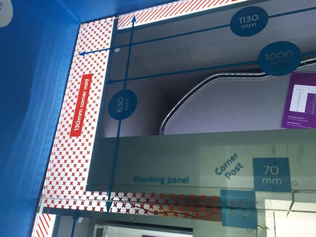 Corner unit service void glass worktop