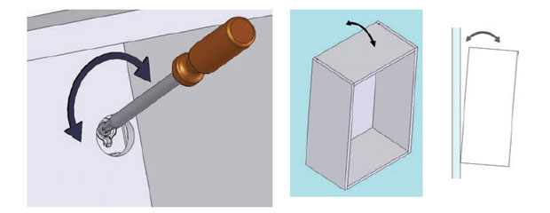 Adjust wall unit tilt forwards backwards