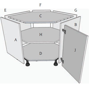 1 corner angled base unit assembly