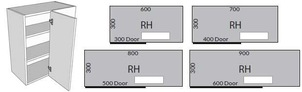 Straight wall corner unit door sizes