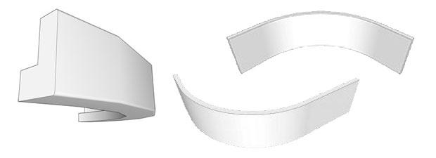 Curved plinth cornice pelmet