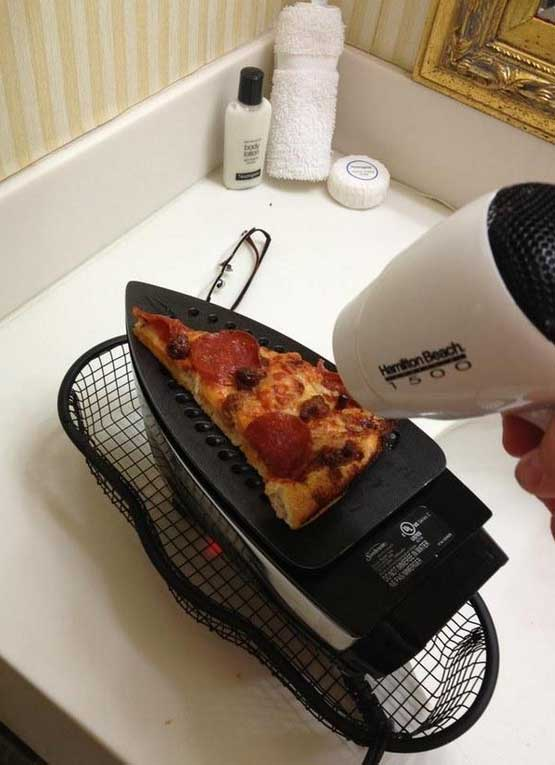 Pizza cooked with hair dryer and iron