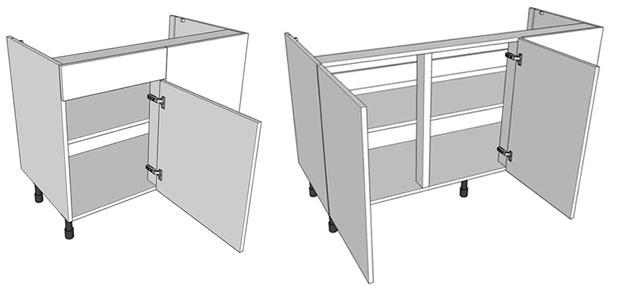 Corner base unit examples highline and drawer-line