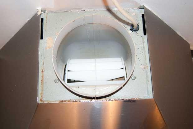 Top of extractor hood