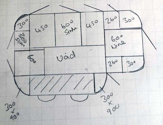 Innova Linwood kitchen split level island sketch
