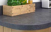 Square edged laminate worktop curved corner