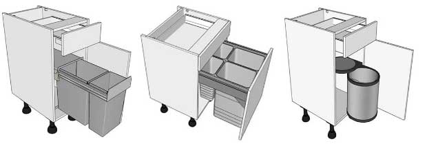 Drawerline waste bin kitchen units