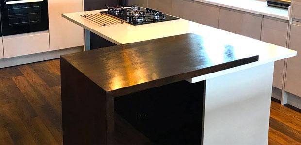 Split level kitchen island