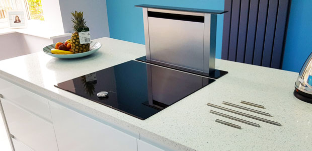 Kitchen island with downdraft extractor