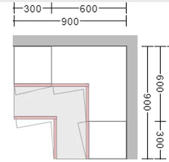 L shaped corner wall unit and base unit