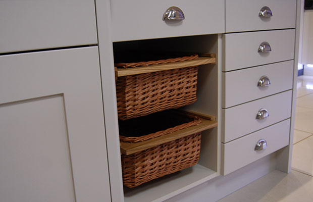 Wicker basket in showroom